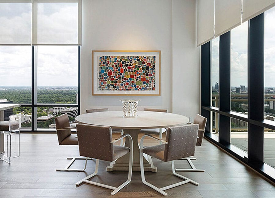 floor to ceiling windows with roller screen shades in houston TX