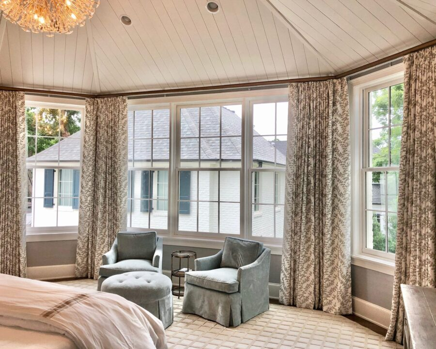guest suite with shiplap ceiling and draperies in Magnolia TX