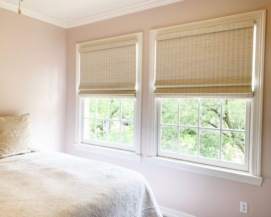 neutral woven wood shades in Magnolia TX