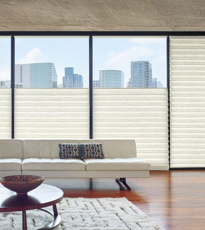 white roman shades with top down bottom up feature for energy efficiency in houston TX