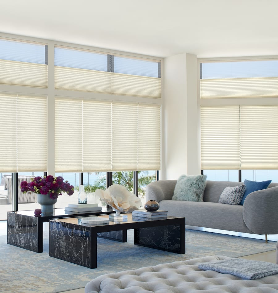 cellular shades in living room in Houston TX