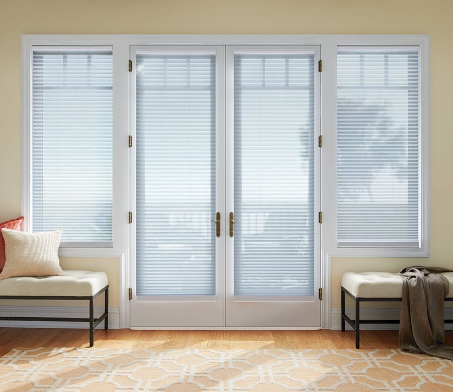 light filtering cellular shades on french doors in Magnolia TX