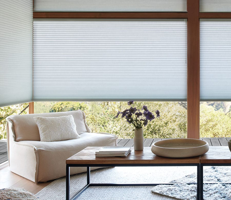 floor to ceiling window shades in living room of Houston TX home