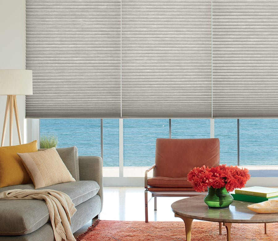 duette honeycomb shades backdrop of home in Memorial TX