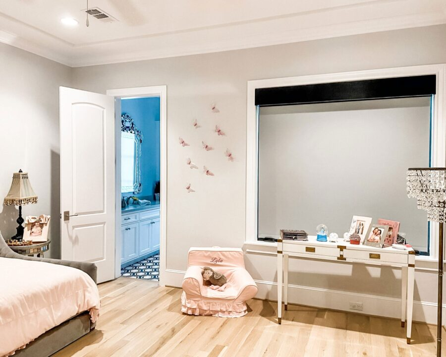 gray dual roller shades in child's bedroom in Houston TX