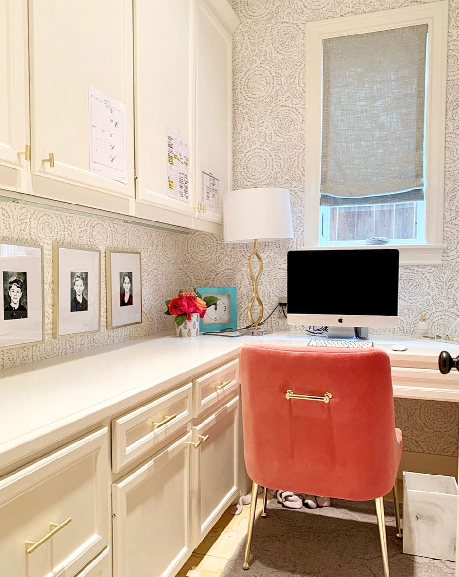 small home office nook in Memorial TX with gray fabric window shades