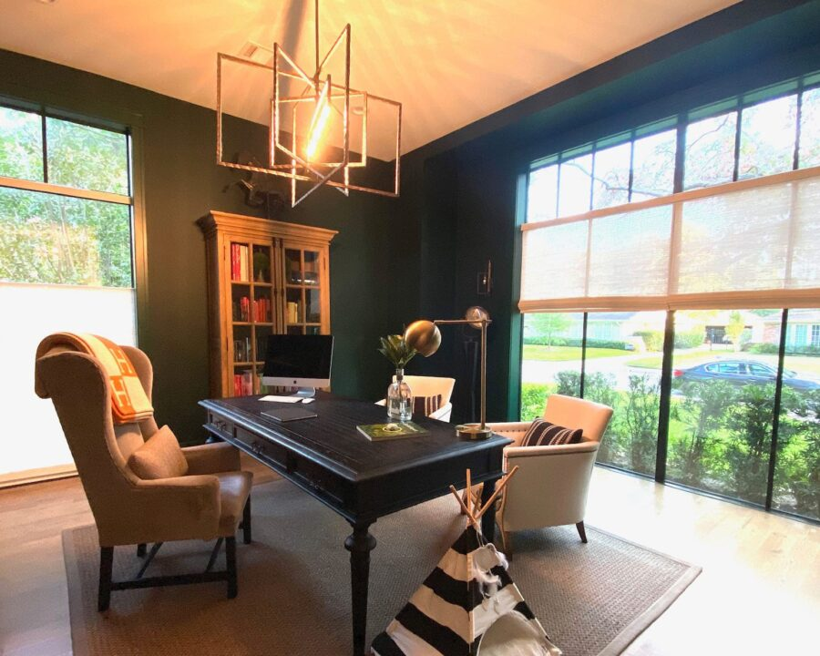 home office ideas for dark green room with large windows and top down shades in Houston TX