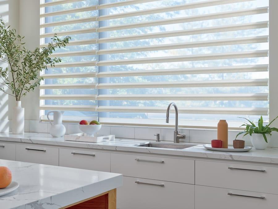 window shades above kitchen sink in Houston TX