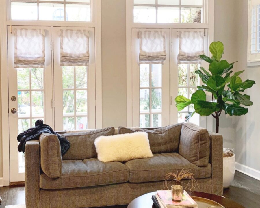 patterned romanshades on french doors in Houston TX