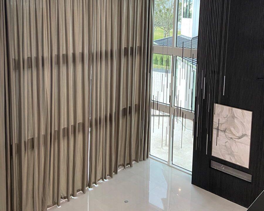 floor to ceiling windows with brown ripplefold draperies memorial TX