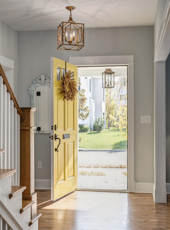 entryway door painted yellow