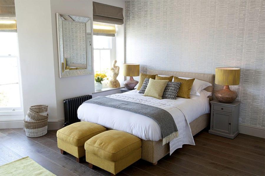 yellow gray master bedroom Houston TX