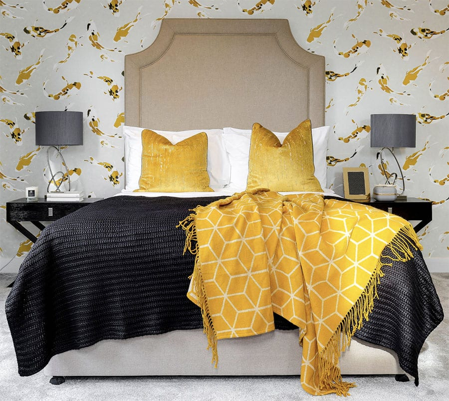 contemporary bedroom with yellow flecked wallpaper