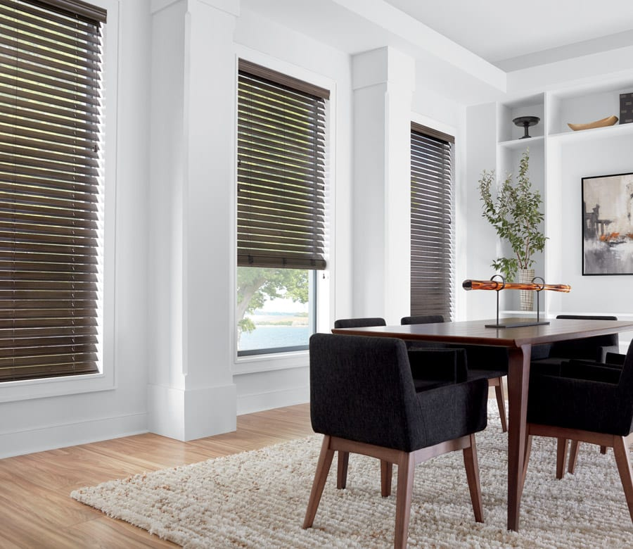 dark faux wood blinds in houston TX dining room