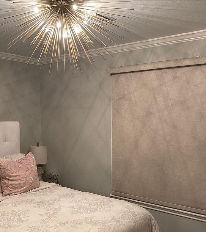 room darkening roller shades in girls bedroom in houston TX