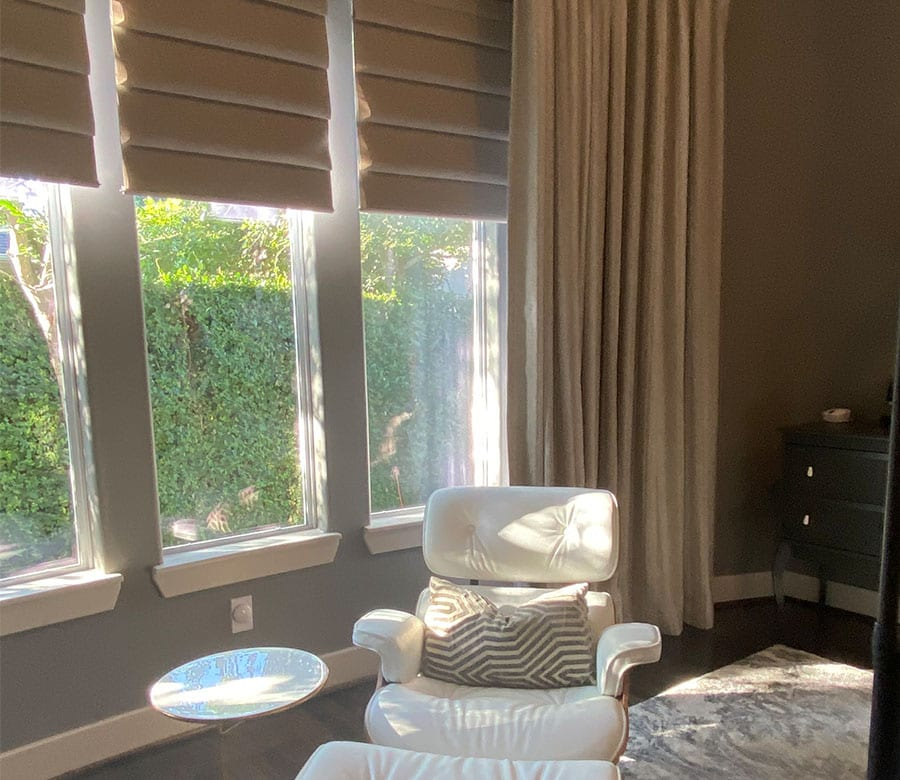 room darkening roman shades in houston bedroom