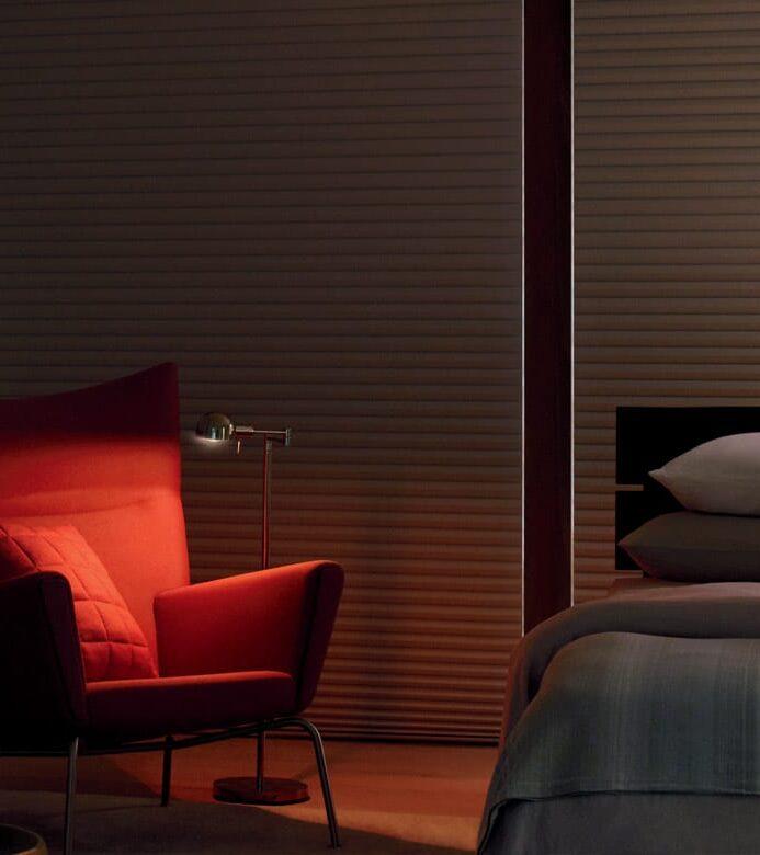 cellular room darkening shades in magnolia TX bedroom