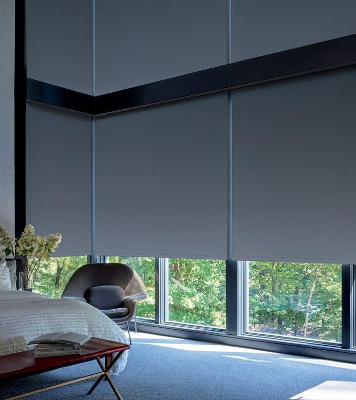 floor to ceiling room darkening shades in memorial texas bedroom