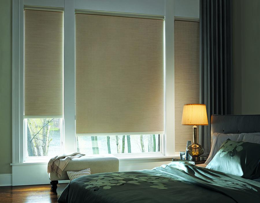 bedroom designer roller shades In Houston