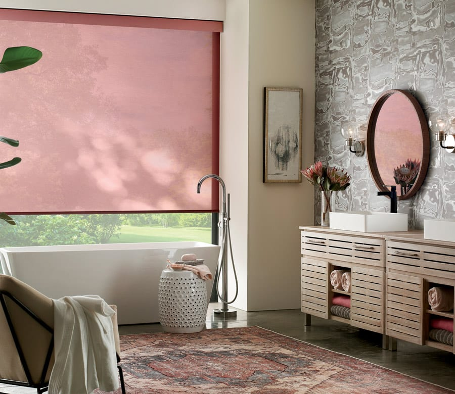 modern roller shades in red in Houston area home