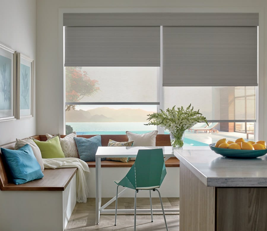 dual shades in living area of baybrook TX home with window treatment financing