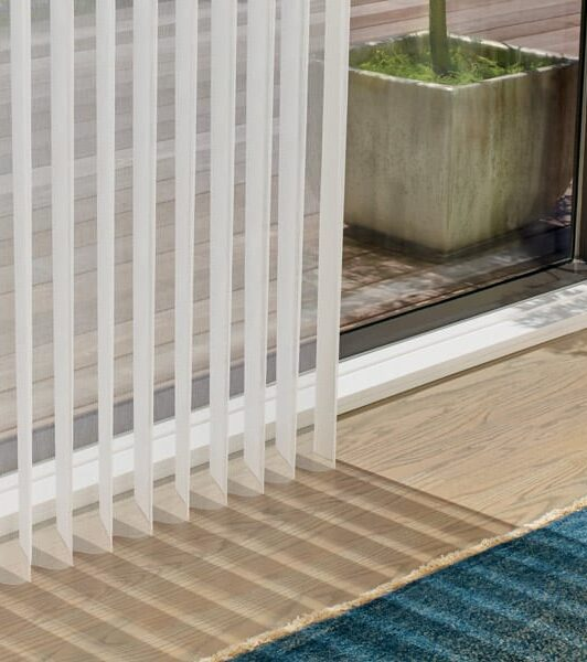 window treatments for doors with close up of sheer vertical shades in Memorial TX