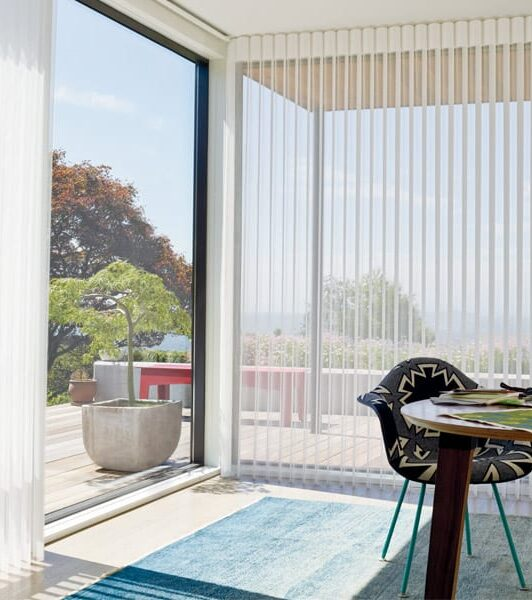 window treatments for doors with vertical sheer shades in home office in Houston TX