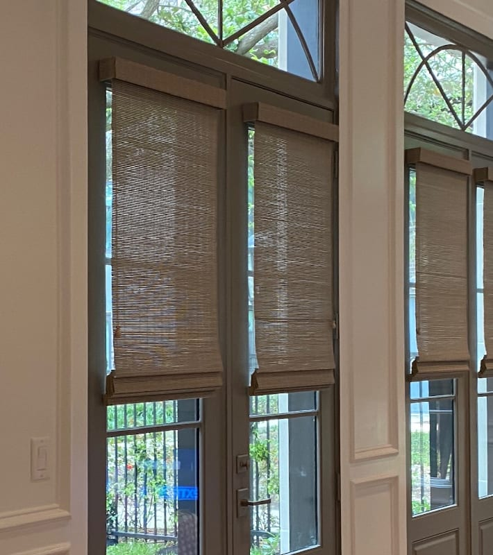 woven wood shades on french doors in Houston TX