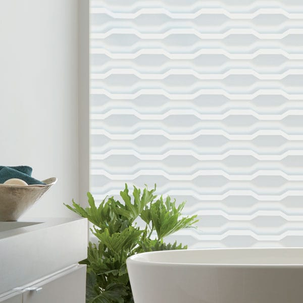 white geometric designer banded shades in bathroom in Friendswood TX home