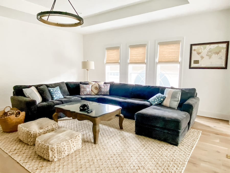 woven shades in cozy living room in Friendswood TX