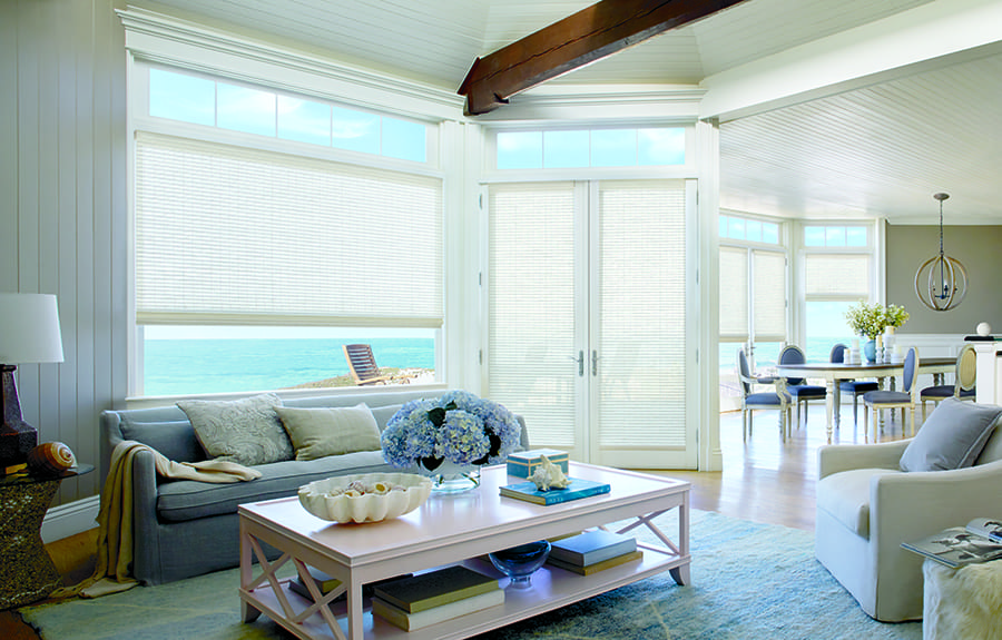 white woven wood shades
