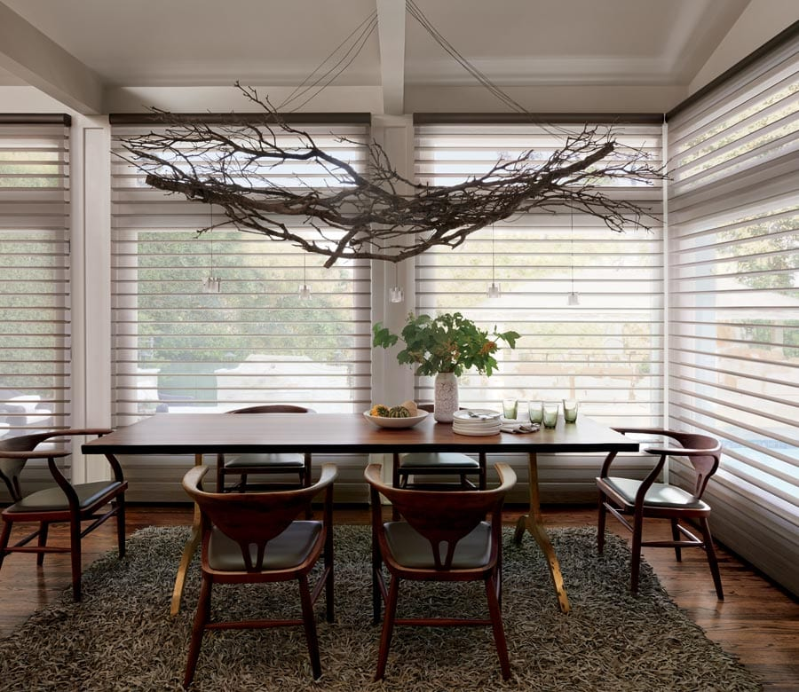 large windows with view through shades in Houston TX kitchen