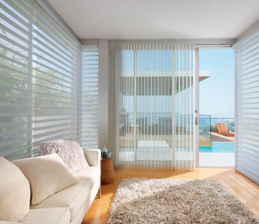 Horizontal shades on slider of houston tx home