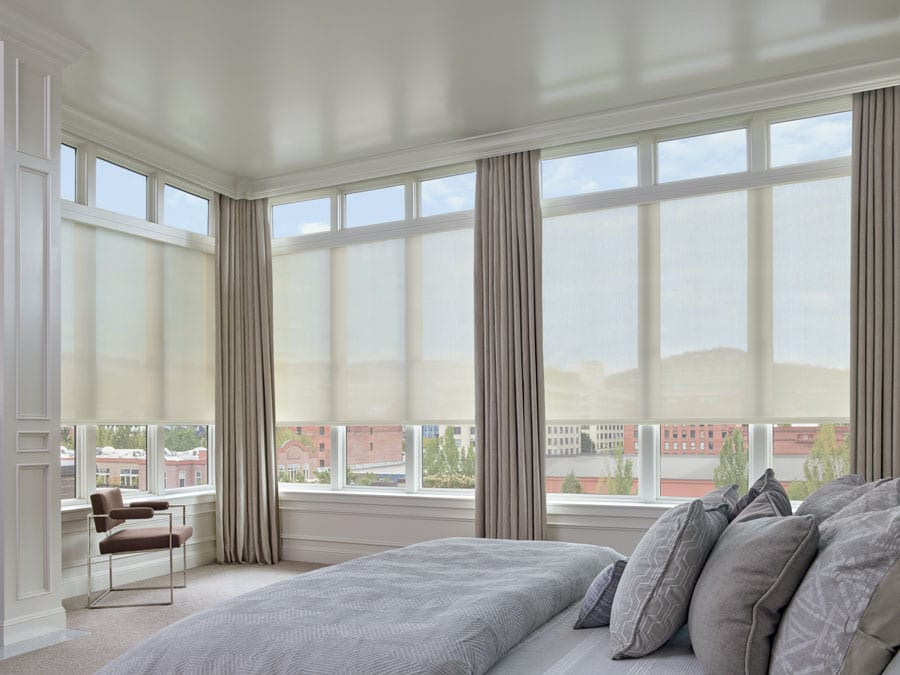 blinds for floor to ceiling windows in Houston condo