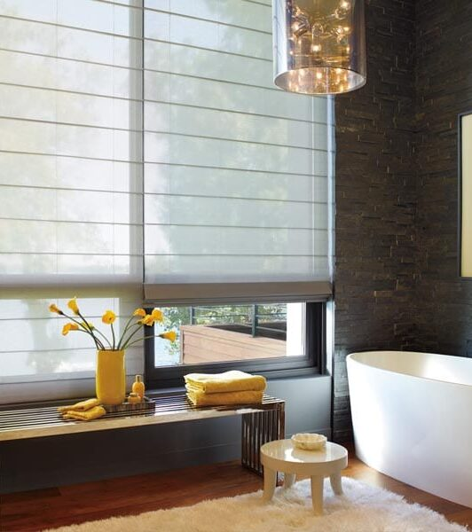 floor to ceiling bathroom windows with alustra woven textures roller shades in Friendswood TX
