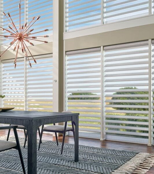 wall to wall large windows with pirouette window shades in Houston TX