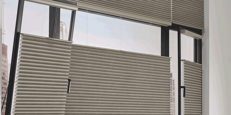 tilt turn windows with window shades covering in Houston TX