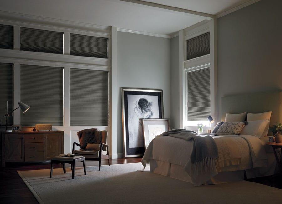room darkening honeycomb shades in Baybrook TX