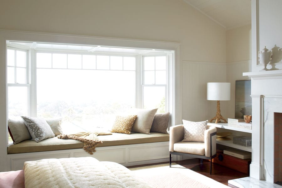 bare bay window in bedroom with too much light entering in Houston TX home