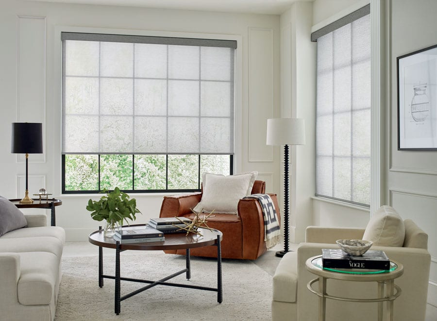 white screen shades on corner living room windows with black frames in the Woodlands Houston