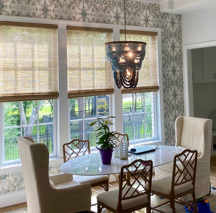 wallpaper accent wall in kitchen dining area in Magnolia TX