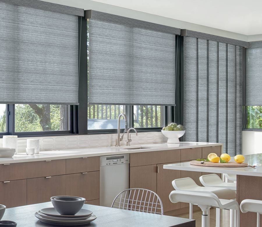 charcoal gray roller shades and gliding panels for doors and windows in Houston TX