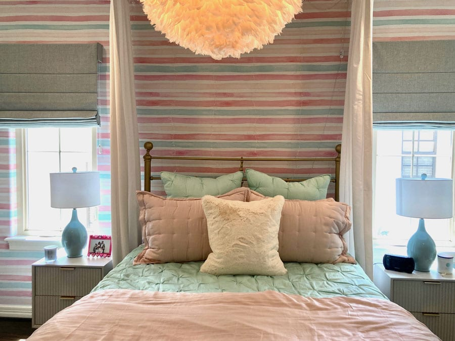 pink and aqua striped wallpaper in a child's bedroom in Houston TX