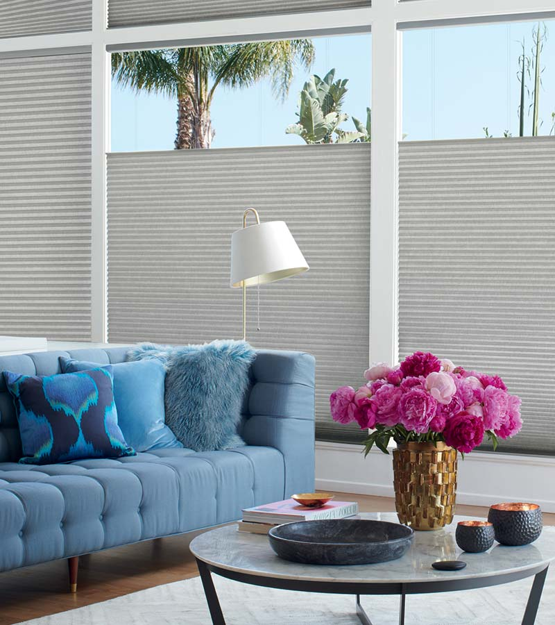 gray top down cellular shades for large windows in Rice Village TX home