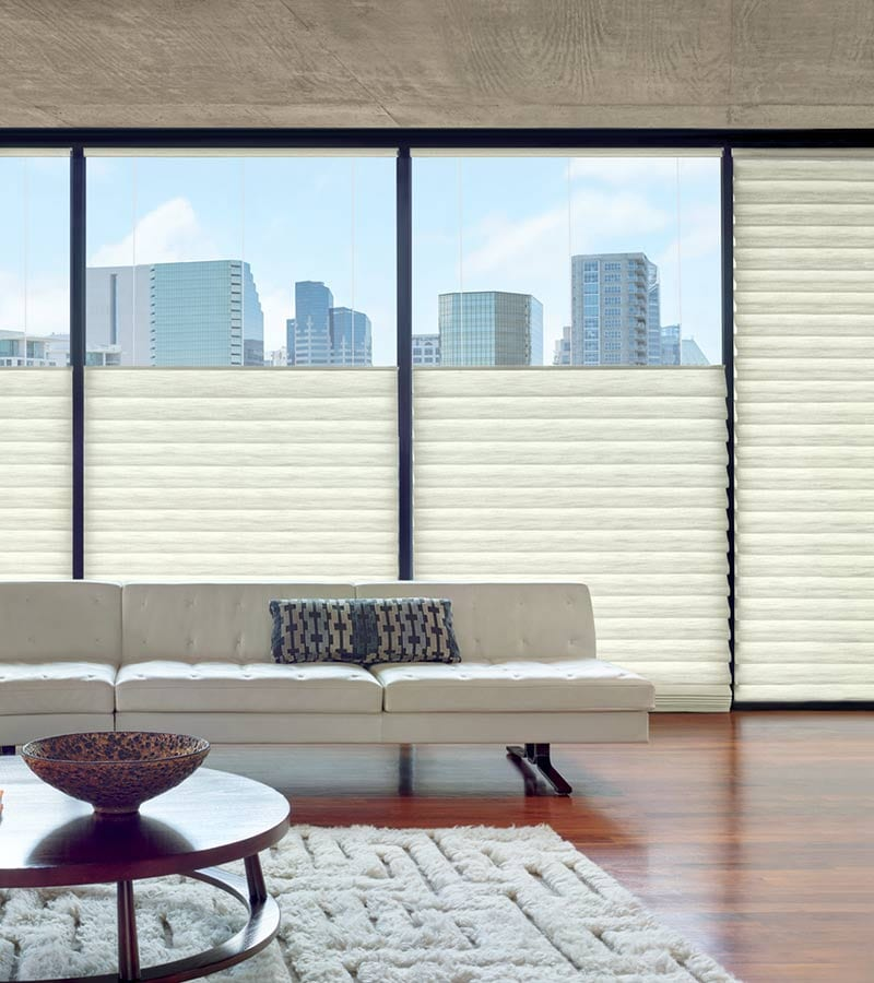 top down roman shades on floor to ceiling windows in Houston TX