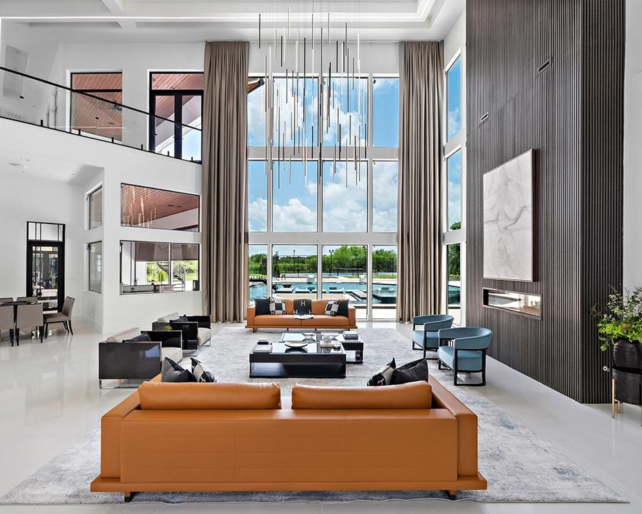 large modern seating area facing outdoor pool in Houston TX
