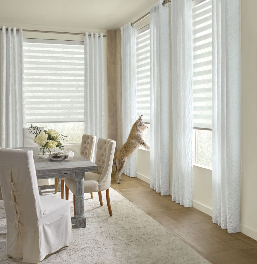 white banded shades with dog on window sill in Houston TX dining room