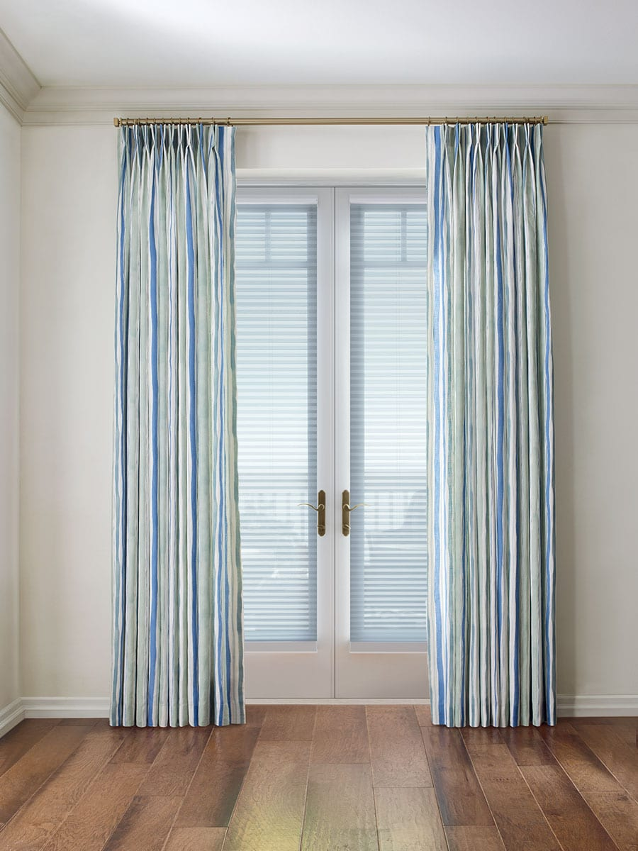 draperies on french doors with cellular shades in Magnolia TX