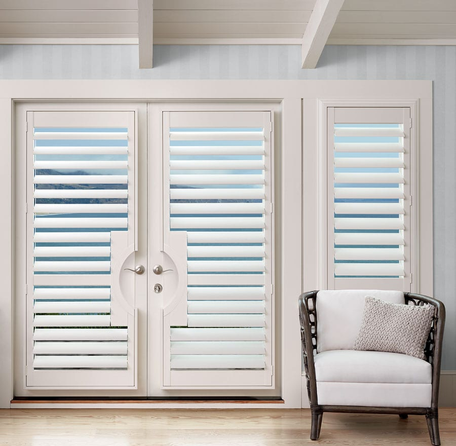 custom door coverings for french doors with white shutters in Houston TX
