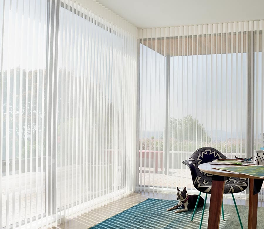 open vertical privacy sheers in home office in Magnolia TX